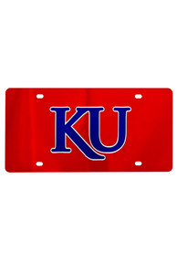 Kansas Jayhawks Red Letters Logo Car Accessory License Plate
