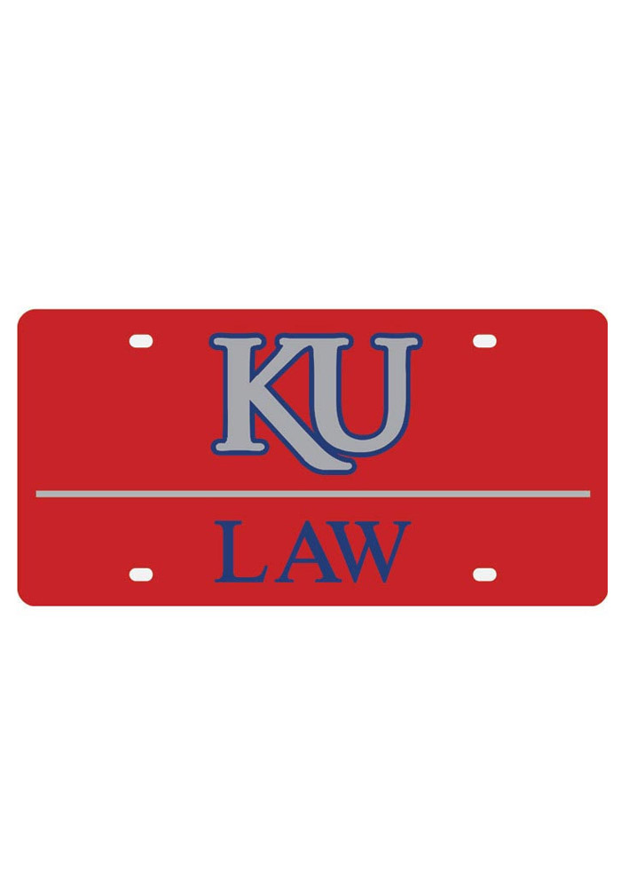 Kansas Jayhawks Acrylic Red Law Car Accessory License Plate - Image 1