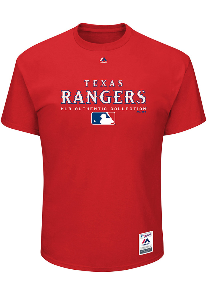 Texas Rangers Mens Red Authentic Team Drive Big and Tall T-Shirt - Image 1