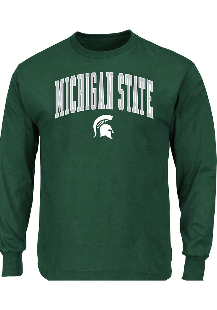 Michigan State Spartans Green Arch Mascot Long Sleeve T-Shirt