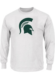 Michigan State Spartans Mens White Primary Logo Big and Tall Long Sleeve T-Shirt