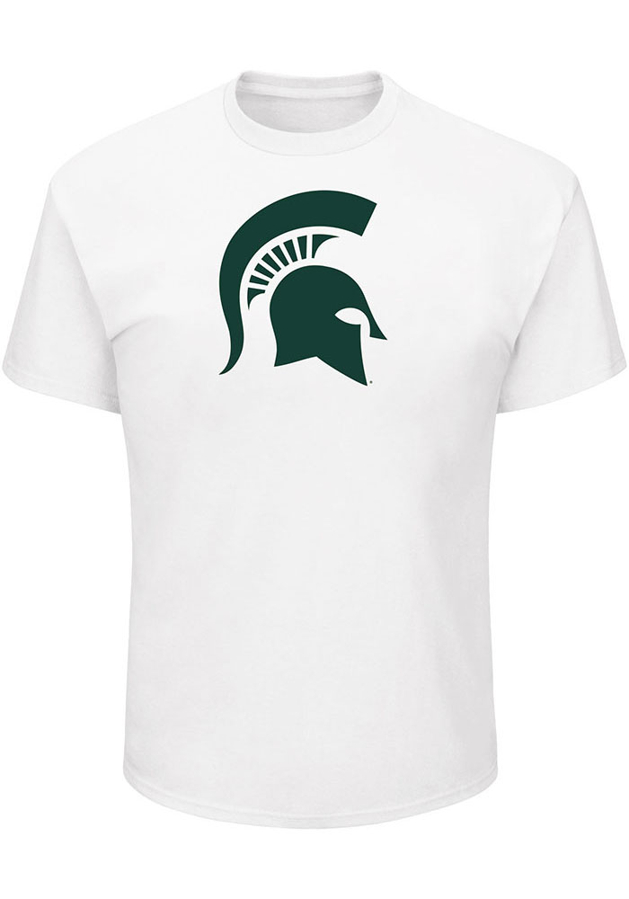 Michigan State Spartans Mens White Primary Logo Big and Tall T-Shirt - Image 1