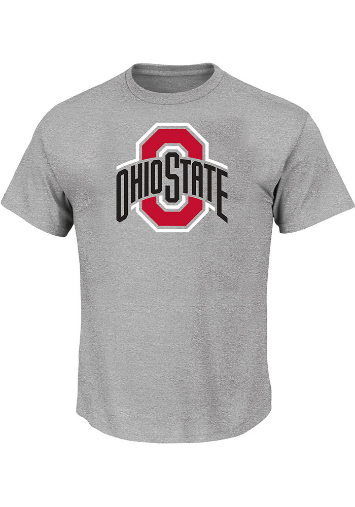 Ohio State Buckeyes Mens Grey Primary Logo Big and Tall T-Shirt - Image 1
