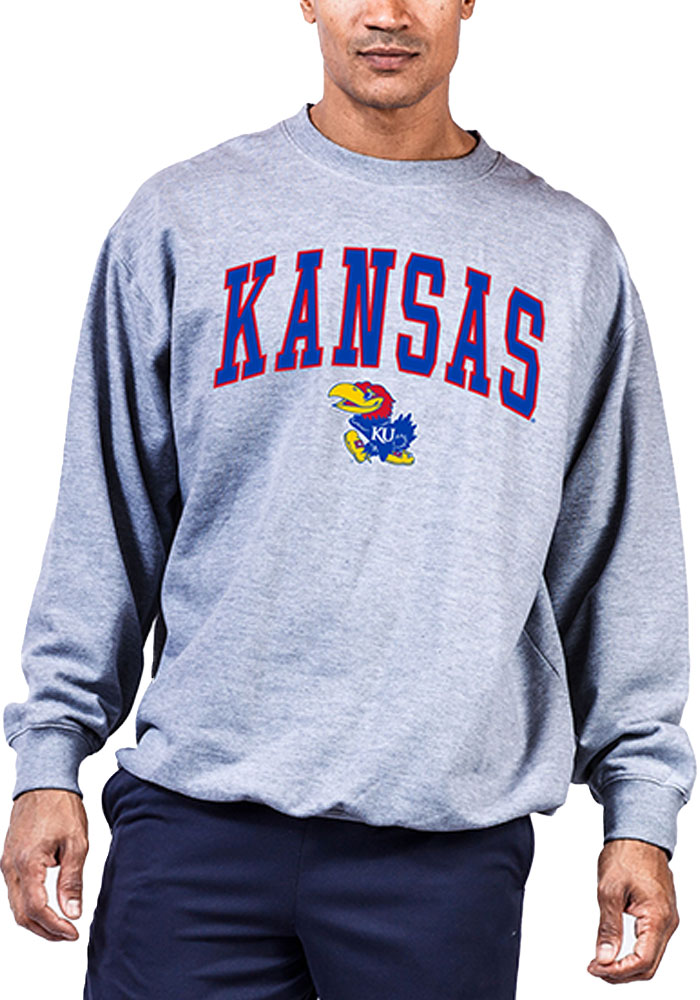 Kansas Jayhawks Mens Grey Arch Mascot Big and Tall Crew Sweatshirt - Image 1