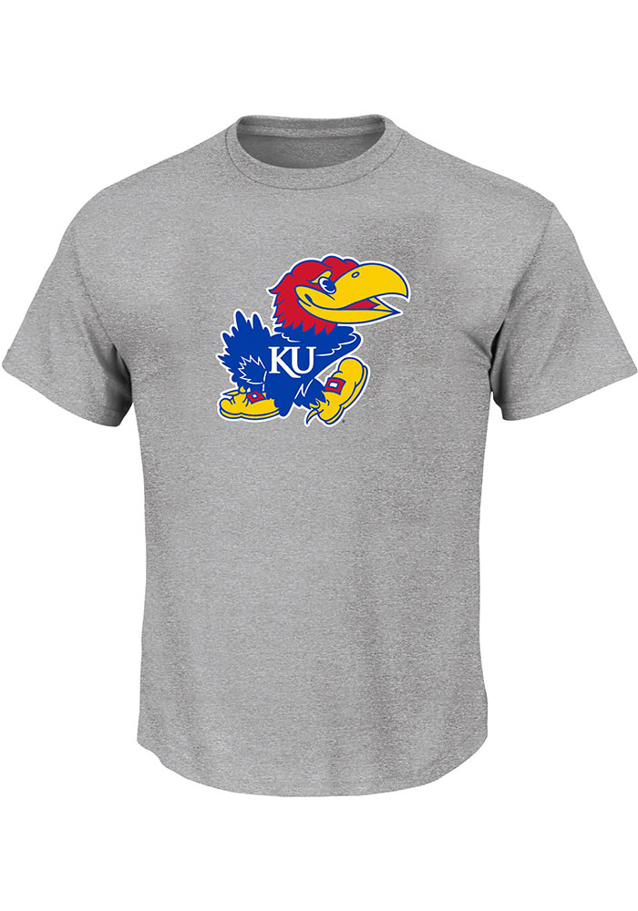 Kansas Jayhawks Mens Charcoal Primary Logo Big and Tall T-Shirt - Image 1