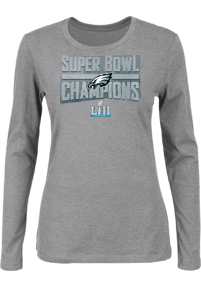 711c130cd Philadelphia Eagles Womens 2018 Super Bowl Champions Grey LS Tee
