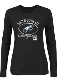 buy online 58590 7970e Philadelphia Eagles Womens 2018 Super Bowl Champions Black LS Tee