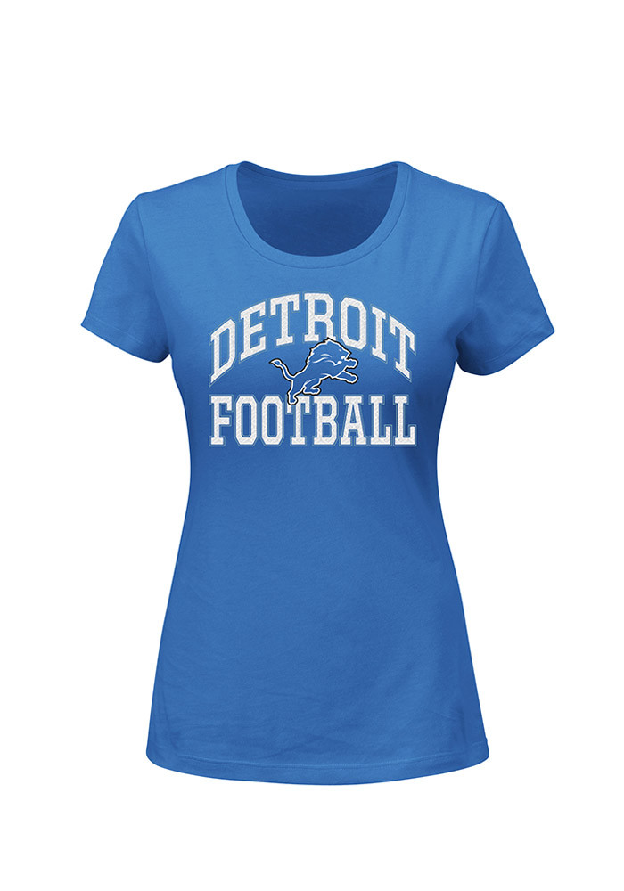 Detroit Lions Womens Blue Her Fitted Short Sleeve Plus Tee - Image 1