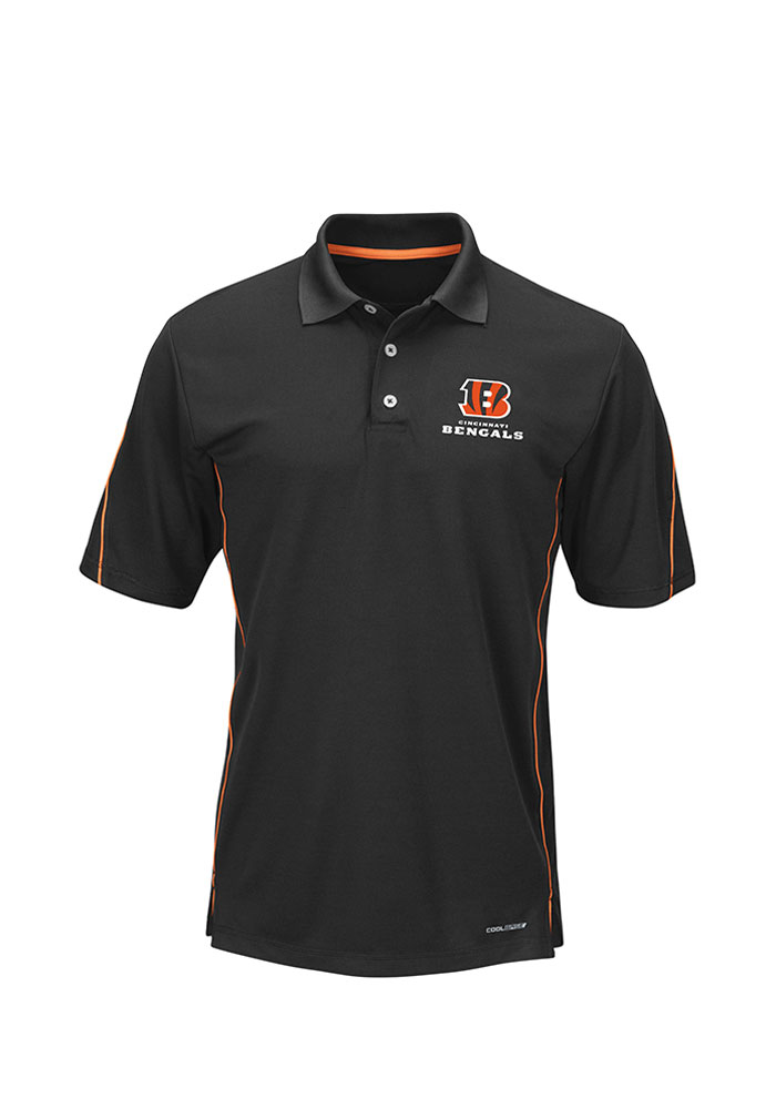 Cincinnati Bengals Mens Black Synthetic Cool Base Big and Tall Polos Shirt - Image 1