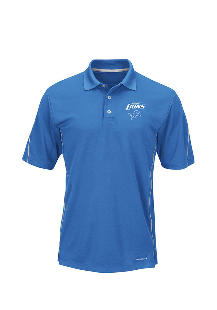 Detroit Lions Mens Blue Synthetic Cool Base Big and Tall Polos Shirt - Image 1