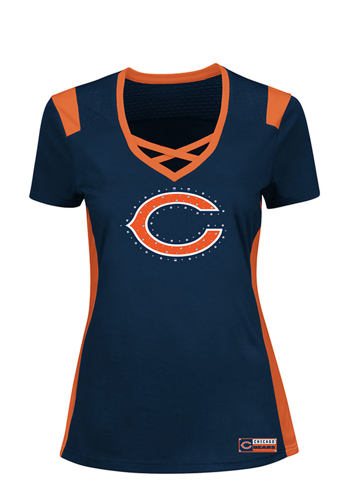 Chicago Bears Womens Navy Blue Draft Me Short Sleeve Plus Tee - Image 1