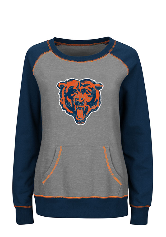 Chicago Bears Womens Grey O.T. Queen Long Sleeve Plus Size T-Shirt - Image 1