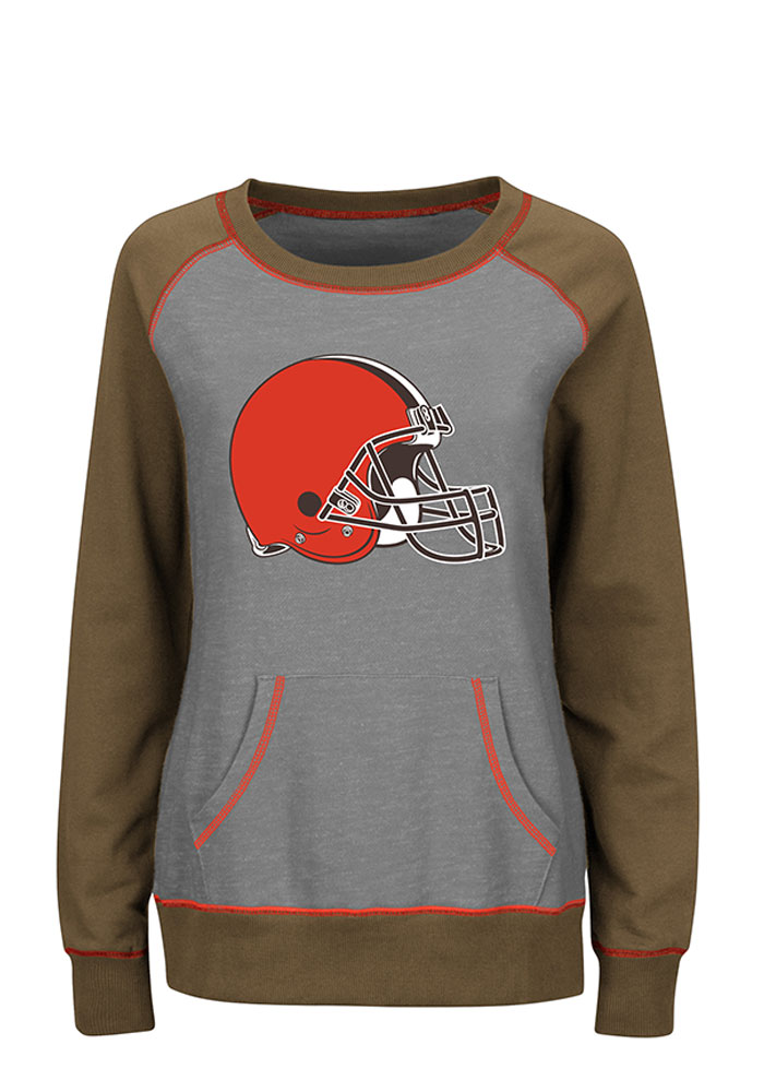 Cleveland Browns Womens Grey O.T. Queen Long Sleeve Plus Size T-Shirt - Image 1