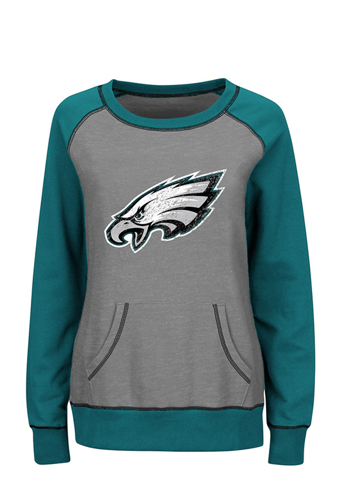 Philadelphia Eagles Womens Grey O.T. Queen Long Sleeve Plus Size T-Shirt - Image 1
