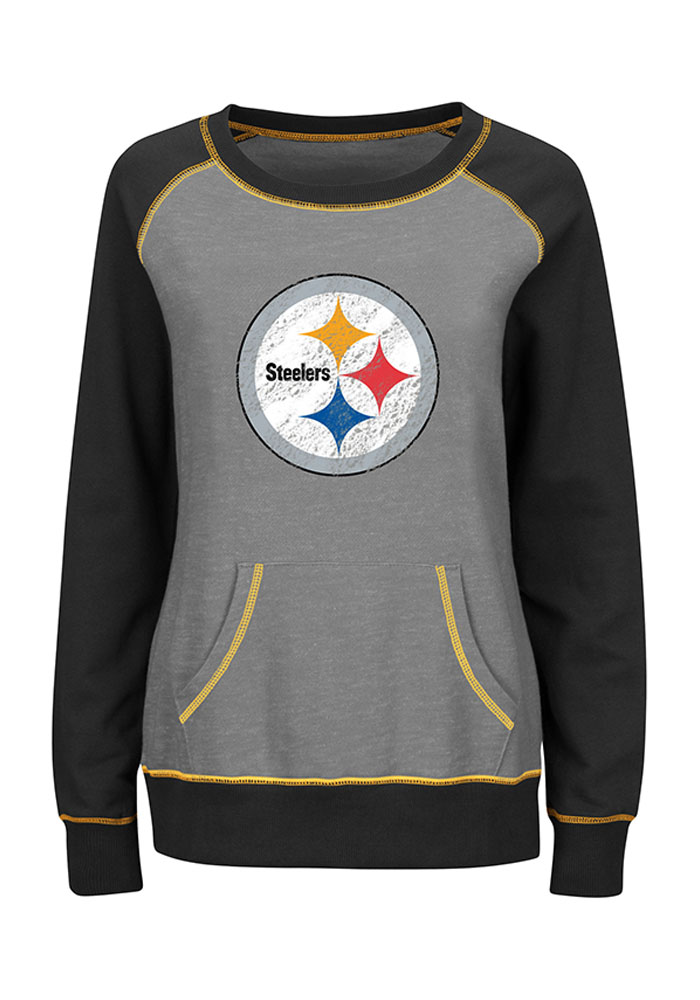 Pittsburgh Steelers Womens Grey O.T. Queen Long Sleeve Plus Size T-Shirt - Image 1
