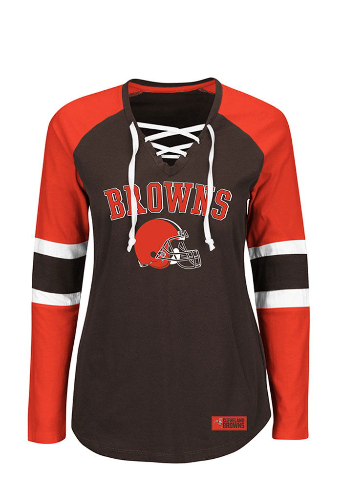 Cleveland Browns Womens Brown Winning Style Long Sleeve Plus Size T-Shirt - Image 1