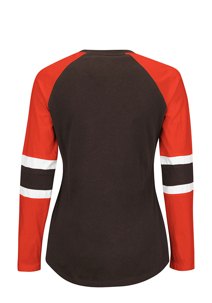 Cleveland Browns Womens Brown Winning Style Long Sleeve Plus Size T-Shirt - Image 2