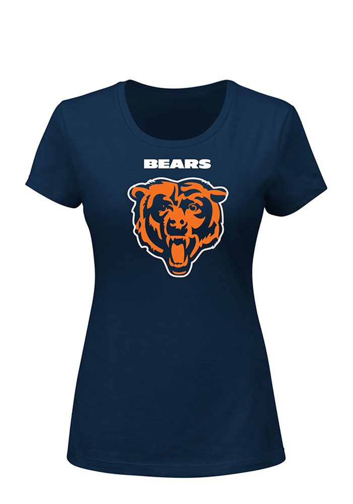 Chicago Bears Womens Navy Blue Franchise Fit Short Sleeve Plus Tee - Image 1