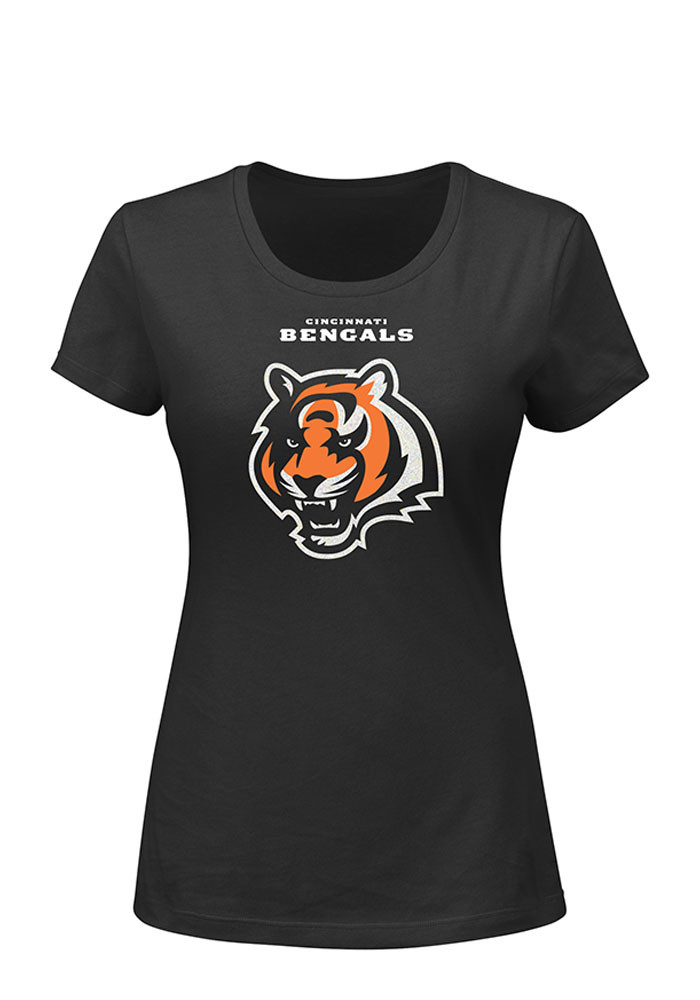 Cincinnati Bengals Womens Black Franchise Fit Short Sleeve Plus Tee - Image 1