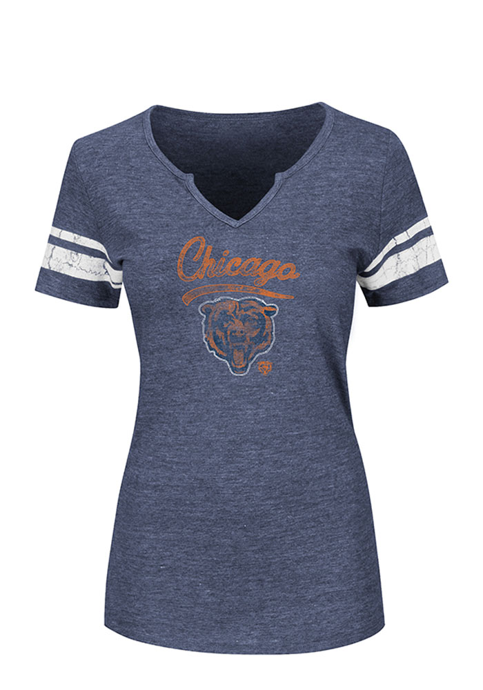 Chicago Bears Womens Navy Blue Game Tradition Short Sleeve Plus Tee - Image 1