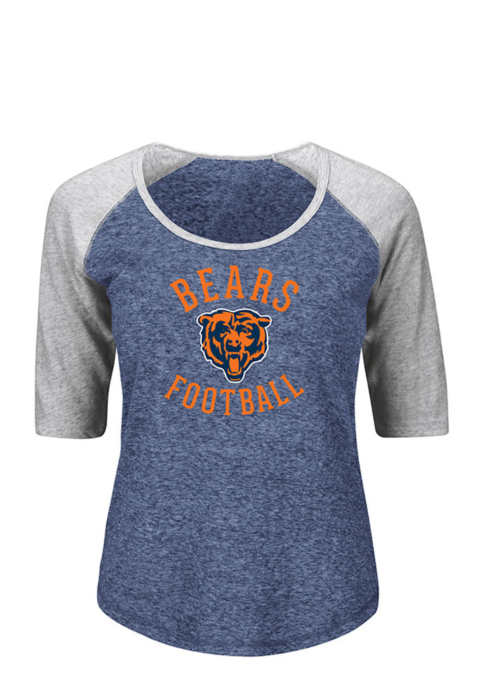 Chicago Bears Womens Navy Blue Like a Champion Long Sleeve Plus Size T-Shirt - Image 1