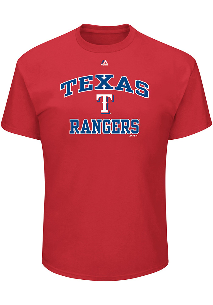 Texas Rangers Mens Red Heart and Soul Big and Tall T-Shirt - Image 1