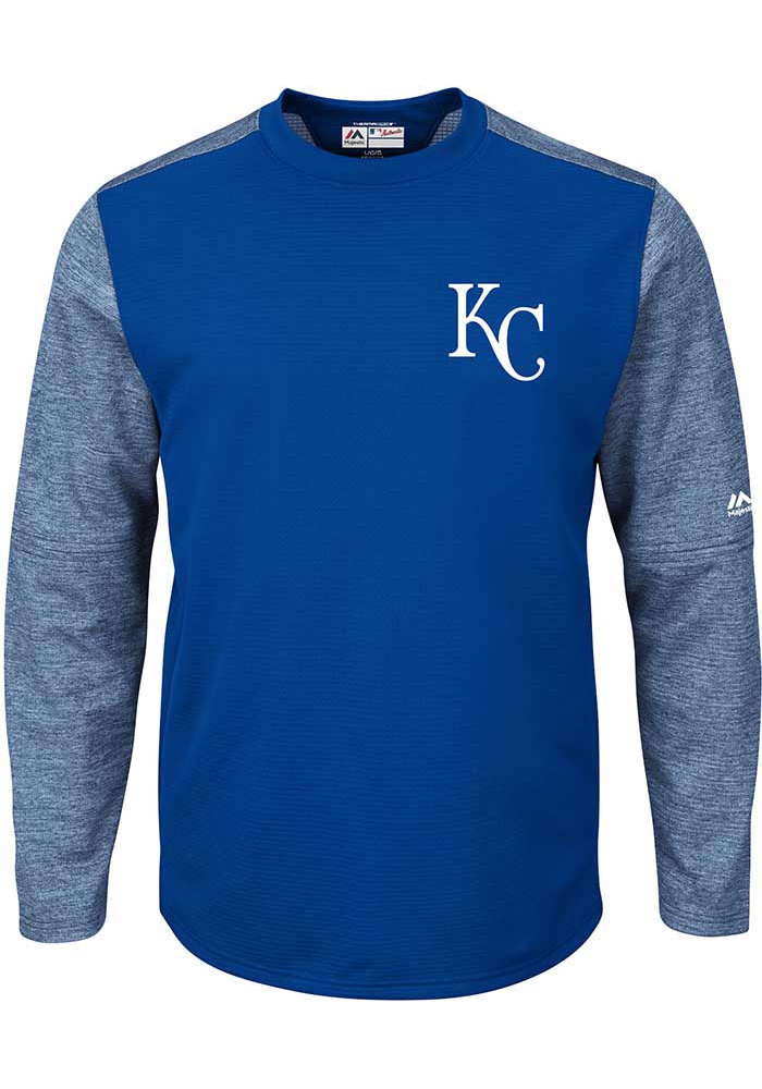Kansas City Royals Mens Blue On-Field Tech Big and Tall Crew Sweatshirt - Image 1