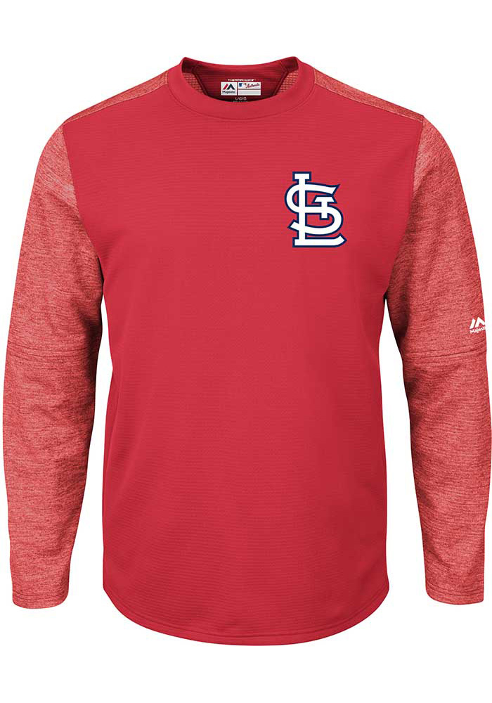 St Louis Cardinals Mens Red On-Field Tech Big and Tall Crew Sweatshirt - Image 1