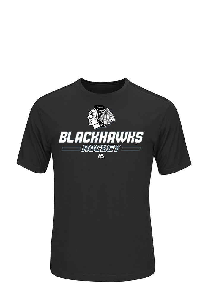 Chicago Blackhawks Mens Black Clearing the Puck Big and Tall T-Shirt - Image 1