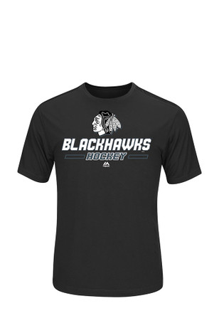 Chicago Blackhawks Mens Black Clearing the Puck T-Shirt