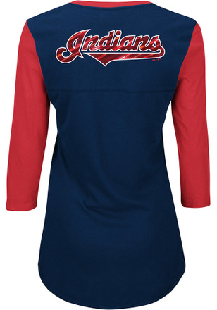 Cleveland Indians Womens Above Average Navy Blue Plus Size T-Shirt