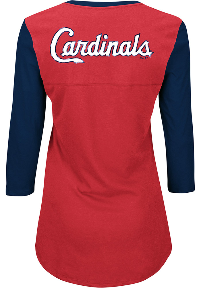 St Louis Cardinals Womens Red Above Average Long Sleeve Plus Size T-Shirt - Image 1
