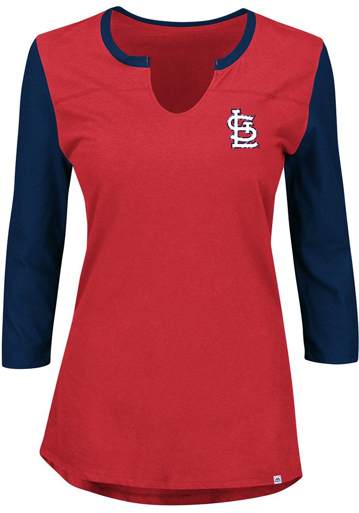 St Louis Cardinals Womens Red Above Average Long Sleeve Plus Size T-Shirt - Image 2
