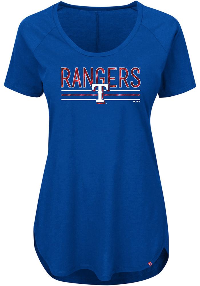 Texas Rangers Womens Blue Tough Decision Short Sleeve Plus Tee - Image 1