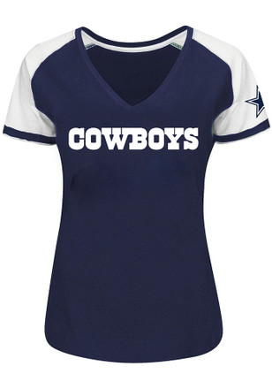 Cowboys Womens Raglan Navy Blue Short Sleeve Plus Tee
