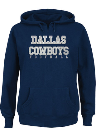 Dallas Cowboys Womens Navy Blue Practice Plus Size Hoodie
