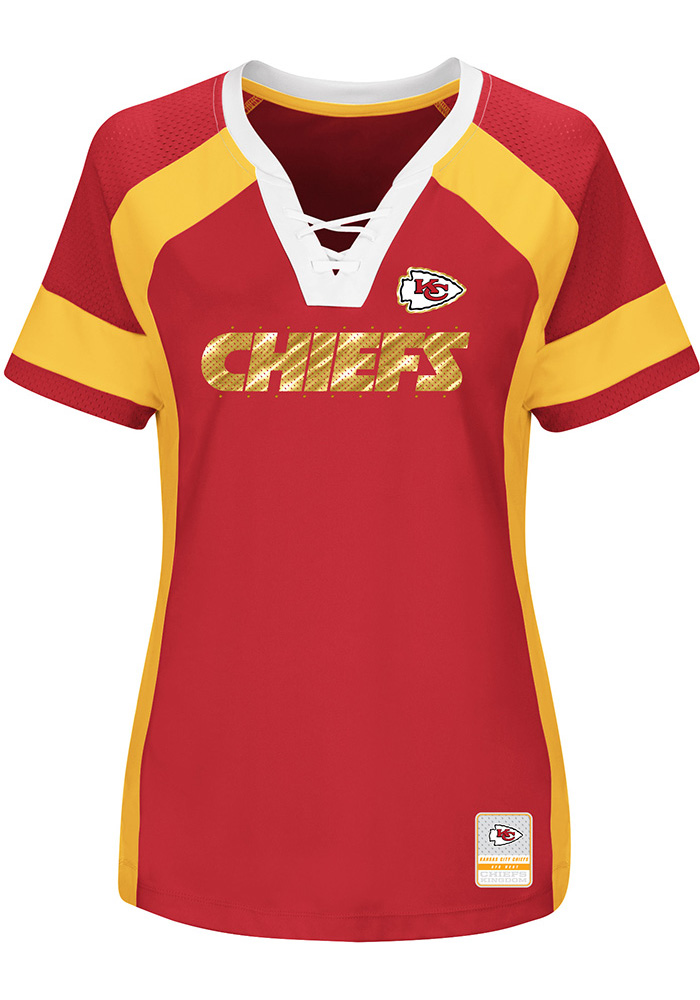 Kansas City Chiefs Womens Red Draft Me Plus Size Football Jersey - Image 1