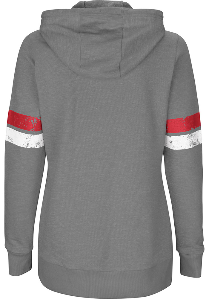 Kansas City Chiefs Womens Grey Athletic Tradition Long Sleeve Plus Size Zip Jacket