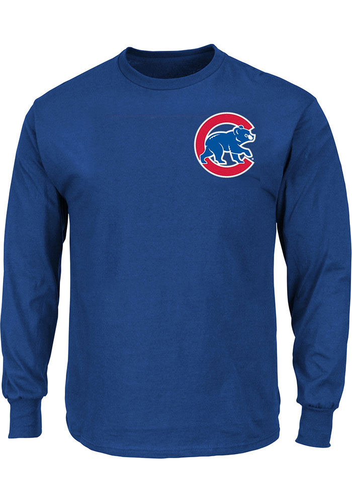 Chicago Cubs Mens Black Wordmark Big and Tall Long Sleeve T-Shirt - Image 1
