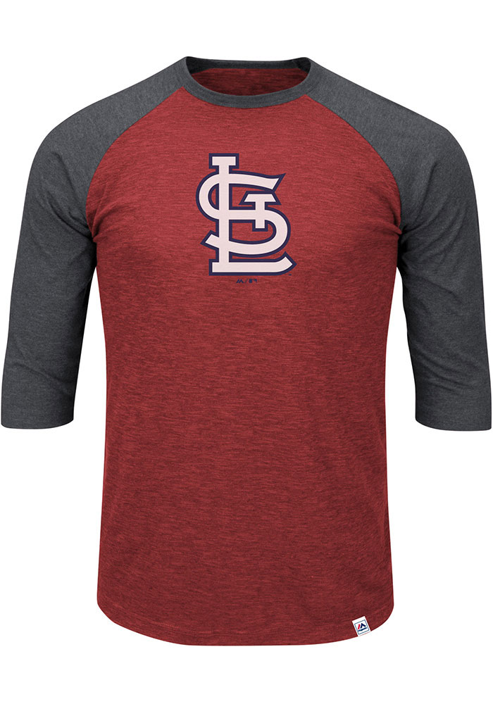 St Louis Cardinals Mens Red 3/4 Sleeve Big and Tall Long Sleeve T-Shirt - Image 1