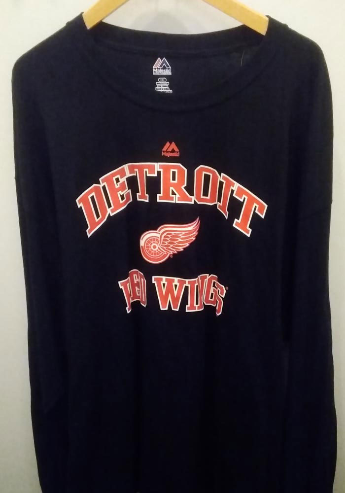 Detroit Red Wings Mens Black Wordmark Big and Tall Long Sleeve T-Shirt - Image 2