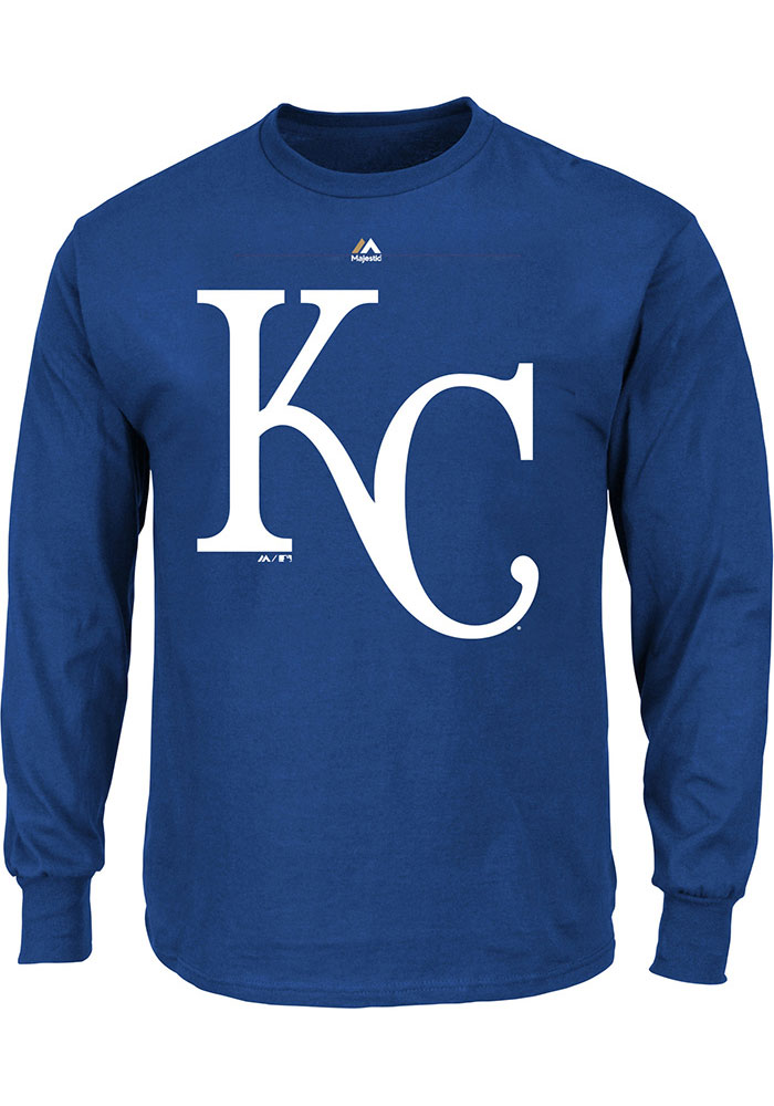 Kansas City Royals Mens Blue Logo Big and Tall Long Sleeve T-Shirt - Image 1