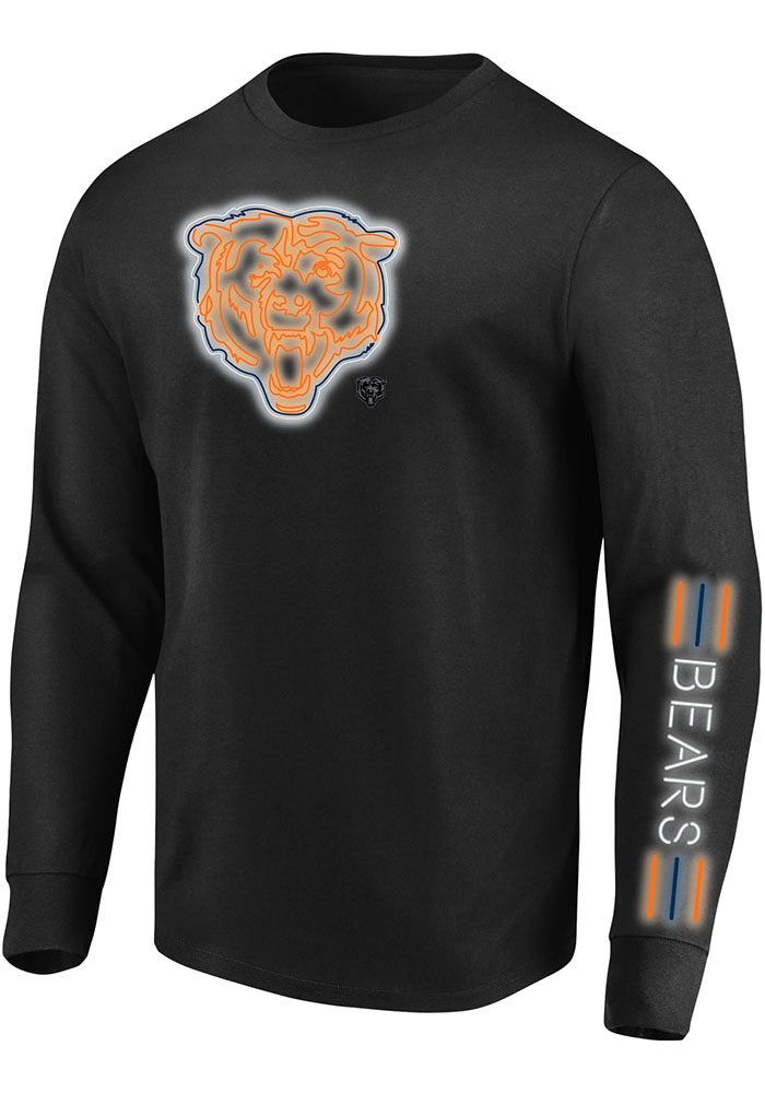 Chicago Bears Mens Black Hit Tee Big and Tall Long Sleeve T-Shirt - Image 1