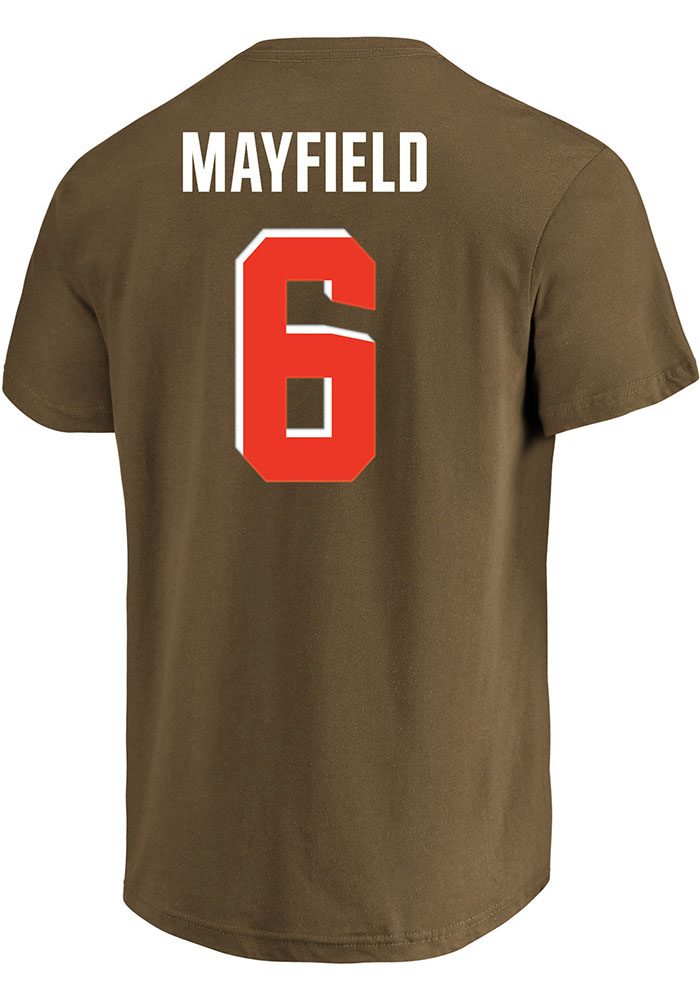 Baker Mayfield Profile Cleveland Browns Mens Brown Name and Number Big and Tall T-Shirt - Image 1