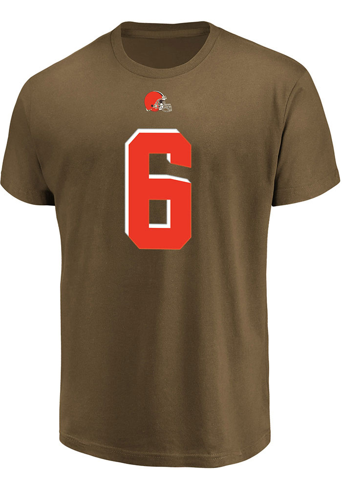 Baker Mayfield Profile Cleveland Browns Mens Brown Name and Number Big and Tall T-Shirt - Image 2