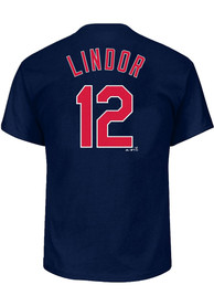 Francisco Lindor Cleveland Indians Mens Name # Big and Tall Player Tee - Navy Blue