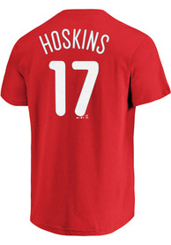 Rhys Hoskins Philadelphia Phillies Mens Name # Big and Tall Player Tee - Red