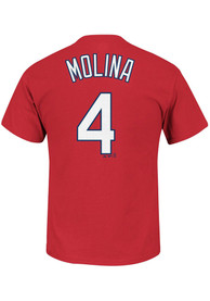 Yadier Molina St Louis Cardinals Mens Name # Big and Tall Player Tee - Red