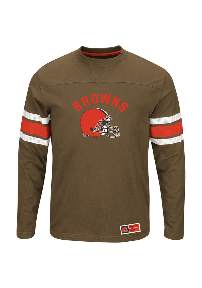 Cleveland Browns Mens Brown Power Hit Big and Tall Long Sleeve T-Shirt - Image 1