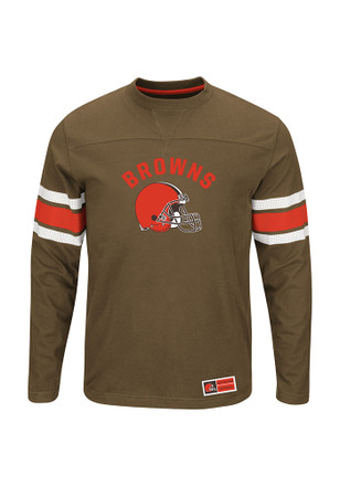 Cleveland Browns Mens Brown Power Hit Long Sleeve T-Shirt